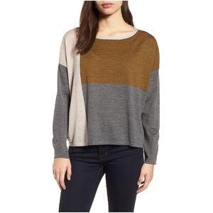 Fine Merino Wool Colorblock Boxy Sweater XS
